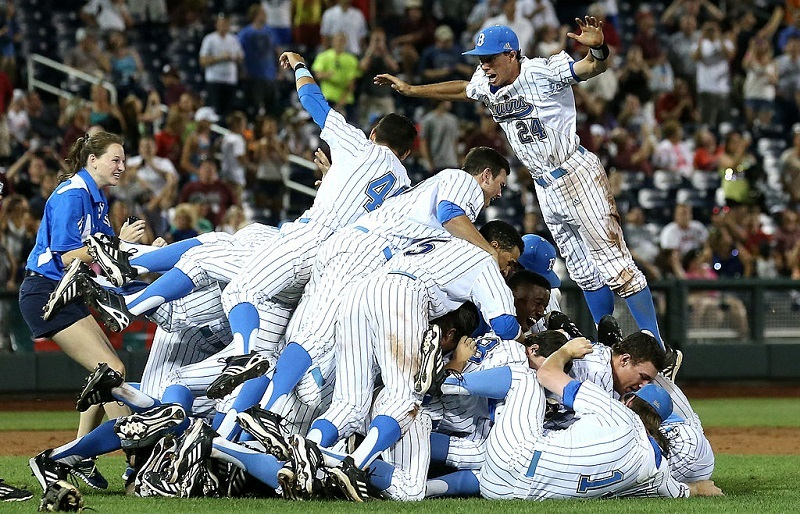 The UCLA Bruins celebrate the final out against the Mississippi State Bulldogs during Game 2 of the 2013 College World Series Finals.