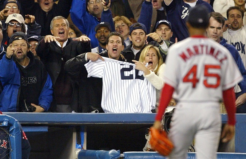 Boston Red Sox pitcher Pedro Martinez leaves Game 7 of the 2003 ALCS after allowing the Yankees to tie the game.