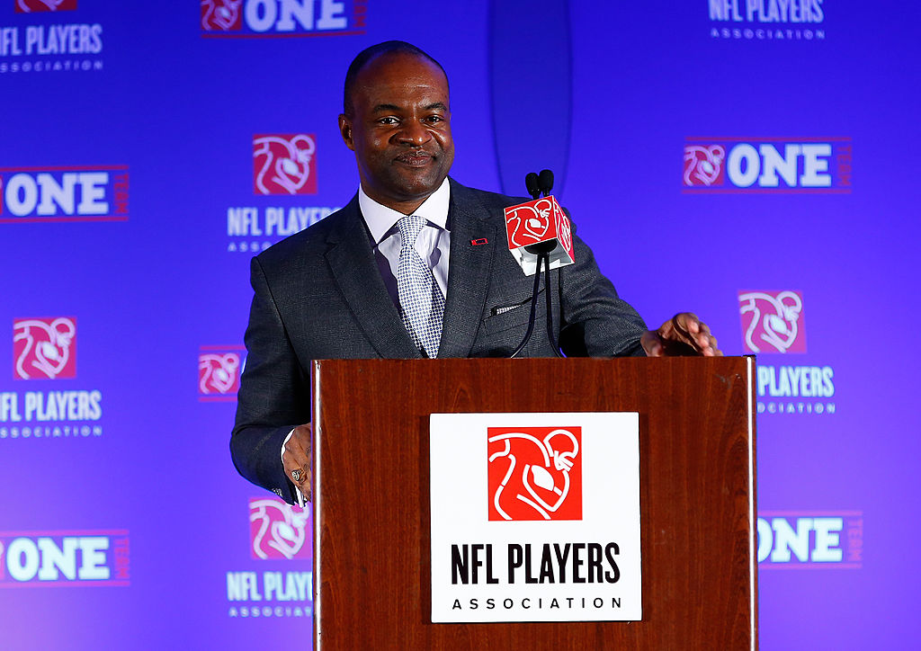 Executive Director of the National Football League Players Association, DeMaurice Smith, talks with the media.