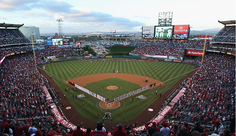 A general view of Angel Stadium of Anaheim is seen prior to the start of Opening Day festivities.
