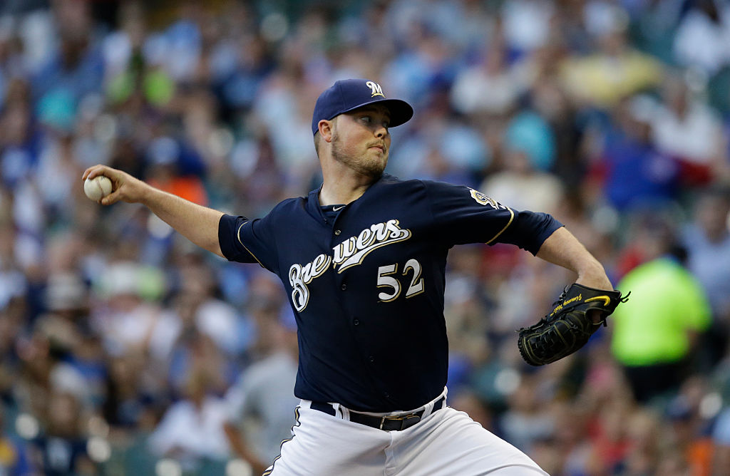 Milwaukee starter Jimmy Nelson hurls one for the Brewers.
