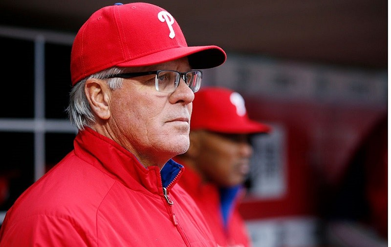 Philadelphia Phillies manager Pete Mackanin looks on during the opening day game.