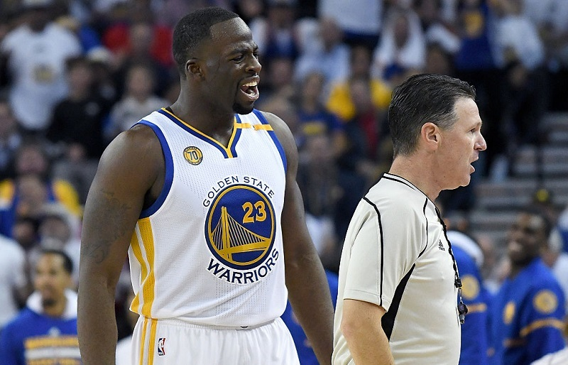 Golden State Warriors forward Draymond Green reacts to a call.