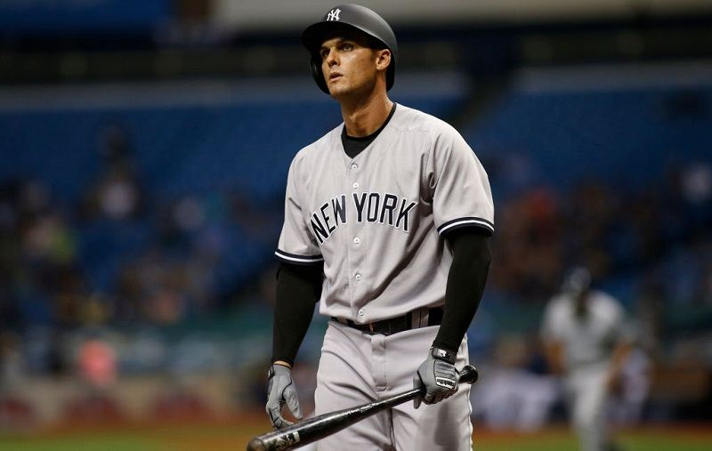 Greg Bird #33 of the New York Yankees reacts after striking out swinging to pitcher Alex Cobb of the Tampa Bay Rays.