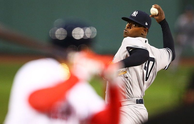 Luis Severino pitches for the Yankees at Fenway Park.