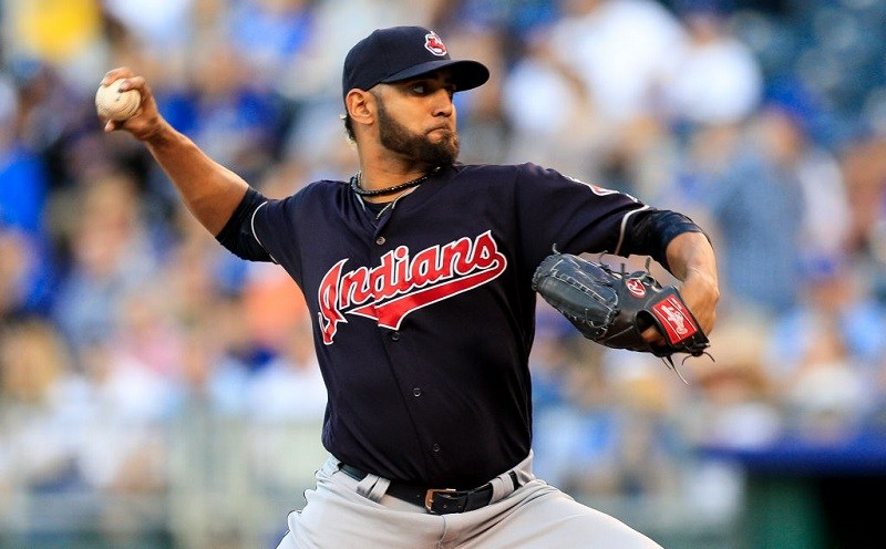 Danny Salazar #31 of the Cleveland Indians pitches against the Kansas City Royals.