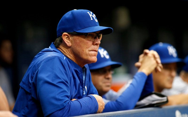Manager Ned Yost #3 of the Kansas City Royals looks on from the dugout.
