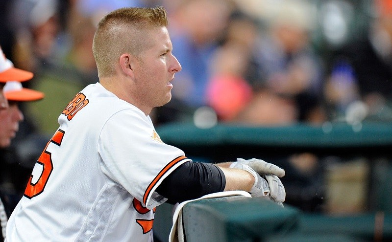 Orioles outfielder Mark Trumbo looks on during a game at Camden Yards in 2017.
