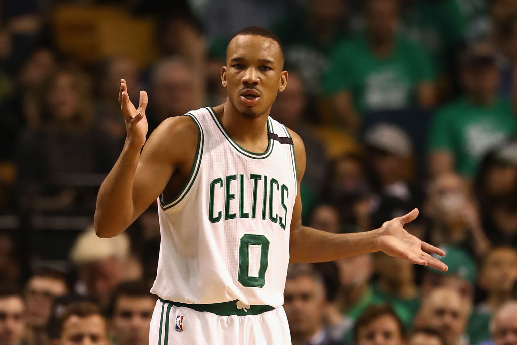 Avery Bradley gestures at the ref after drawing a foul.