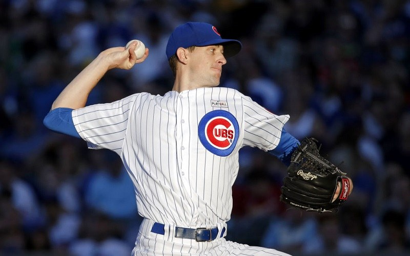 Kyle Henricks pitching at Wrigley Field on June 4, 2017 in Chicago, Illinois.