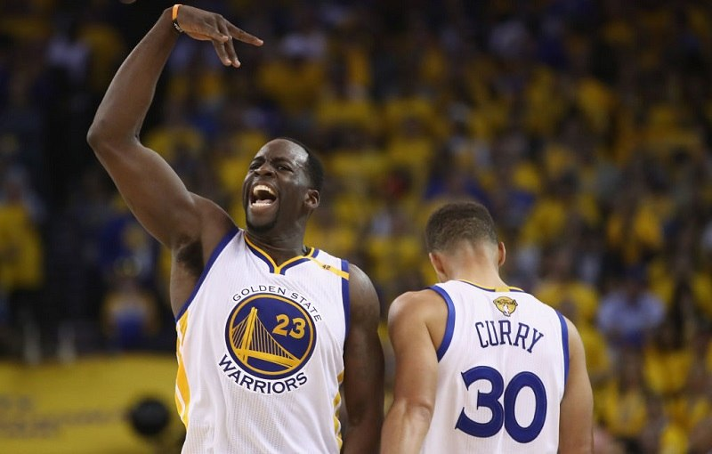 Draymond Green gestures during Game 5 of the 2017 NBA Finals.