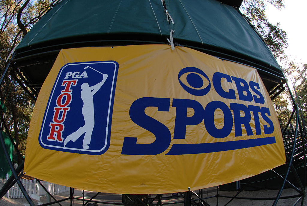 A CBS Sports tent stands during a PGA tour event.
