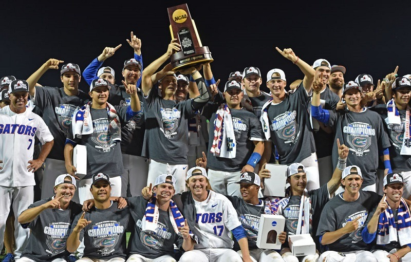 The Florida Gators celebrate the 2017 College World Series Championship Series.