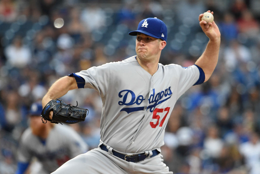 Alex Wood pitches for the Dodgers.