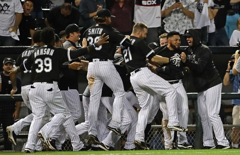 The Chicago White Sox celebrate a win at Guaranteed Rate Field.