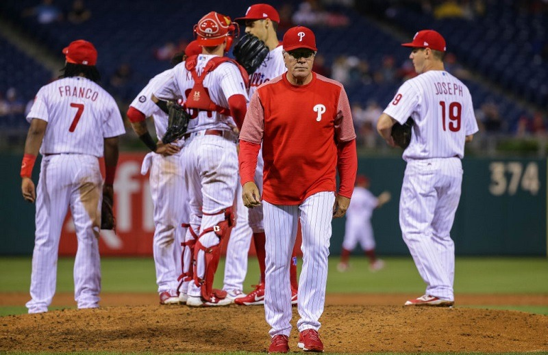 Manager Pete Mackanin #45 of the Philadelphia Phillies walks to the dugout.