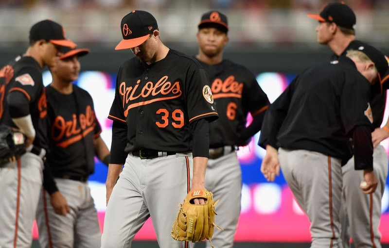 Kevin Gausman #39 of the Baltimore Orioles leaves the game against the Minnesota Twins.