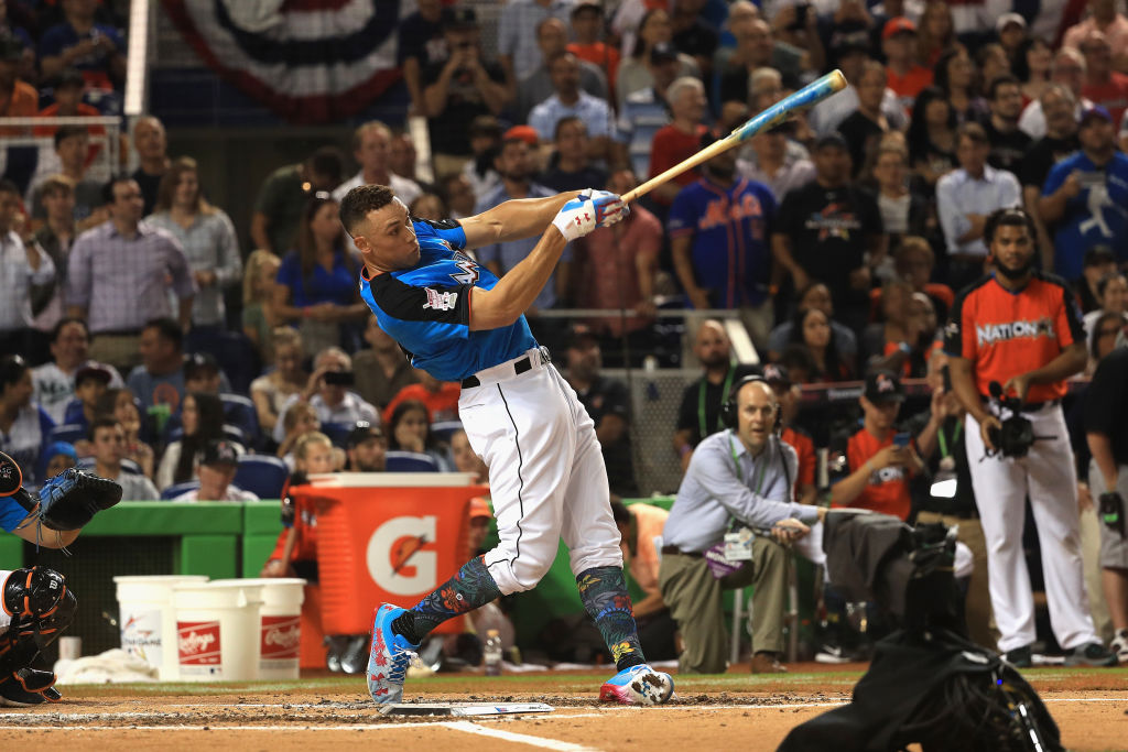 Aaron Judge slams a home run during the Home Run Derby.