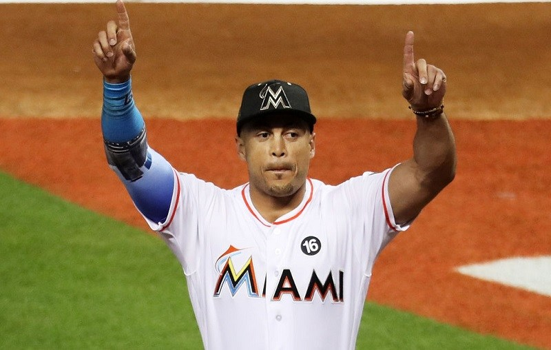 Giancarlo Stanton salutes the crowd during the 2017 MLB All-Star Game at Marlins Park.