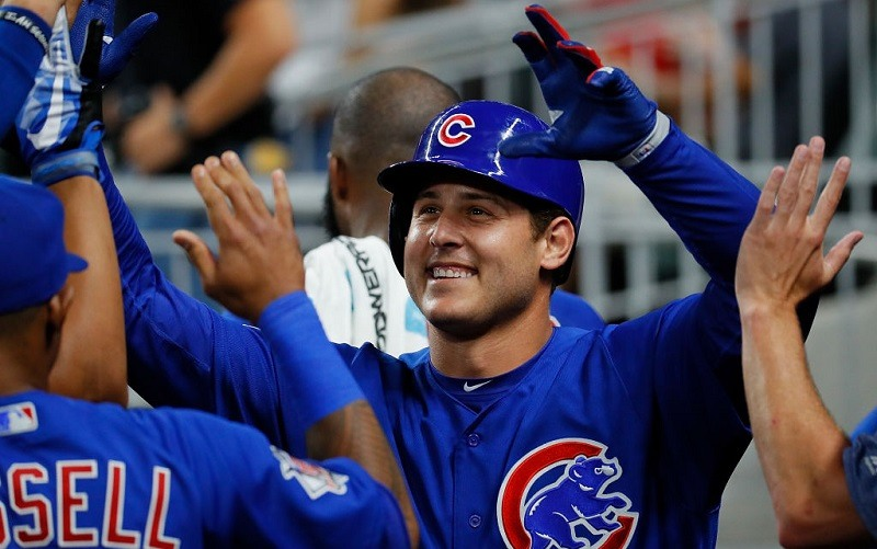 Anthony Rizzo and the Cubs celebrate at SunTrust Park.