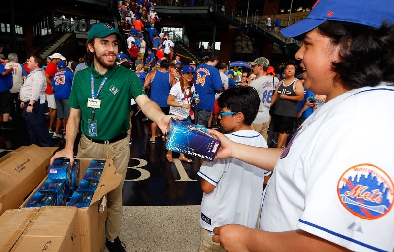 Fans celebrate Noah Syndergaard bobblehead day on July 22, 2017 at Citi Field in New York City.
