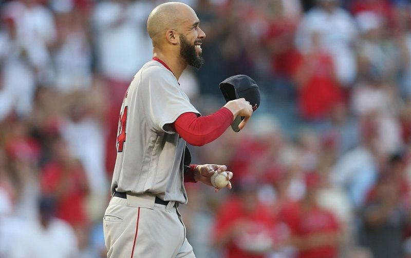 David Price of the Boston Red Sox smiles after a home run.