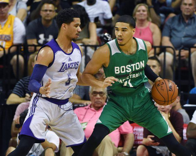 Jayson Tatum goes to work in the post.