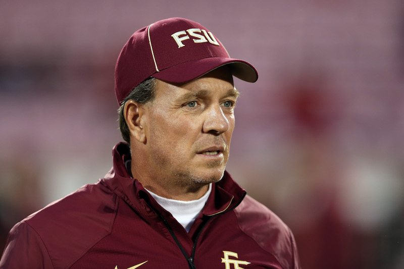 Head coach Jimbo Fisher of the Florida State Seminoles looks on during a game.