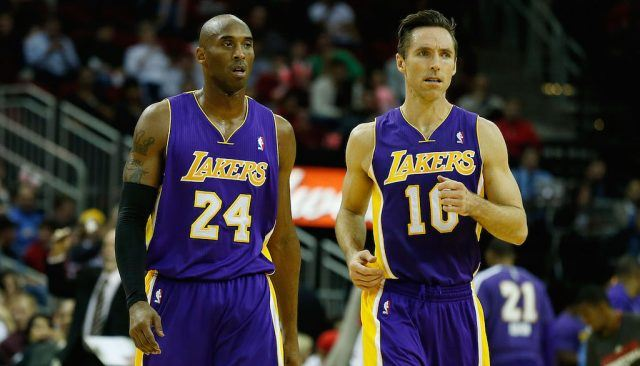 Kobe Bryant and Steve Nash on the court together.