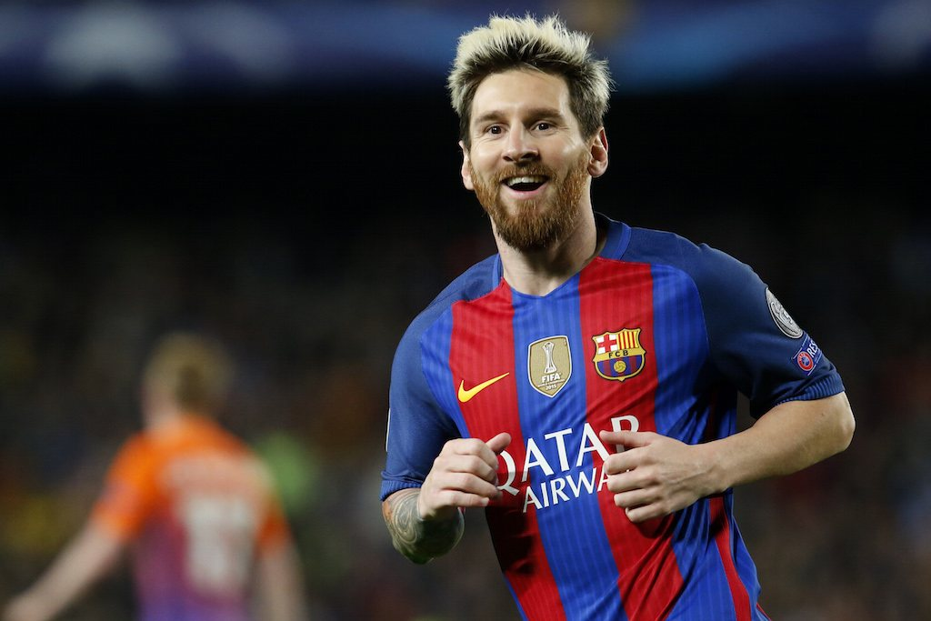 Lionel Messi celebrates scoring a goal.