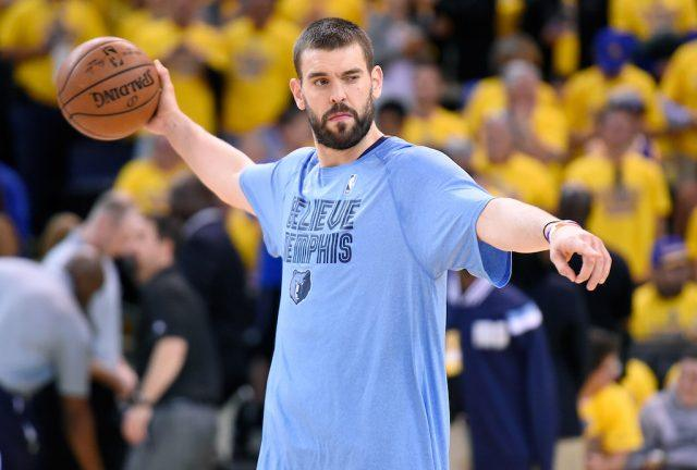 Marc Gasol warms up before a game.