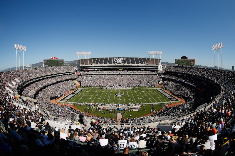 A general view of Oakland-Alameda County Coliseum during an Oakland Raiders game