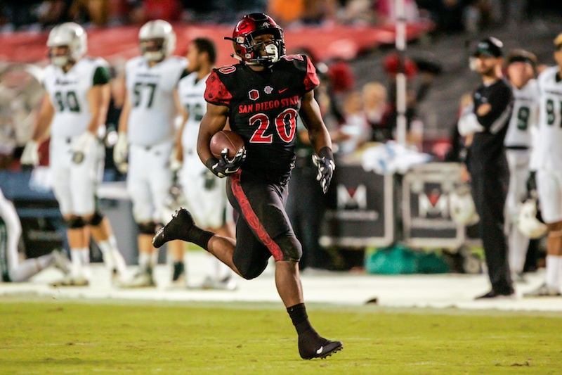Rashaad Penny of the San Diego State Aztecs runs with the ball.