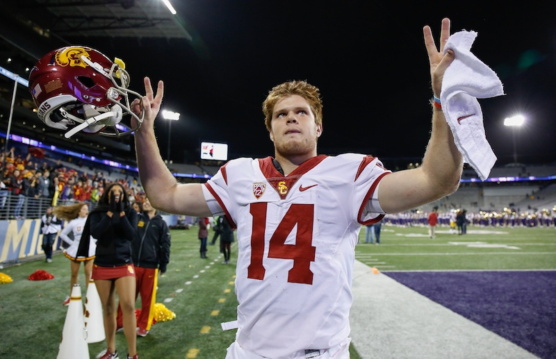 Quarterback Sam Darnold of the USC Trojans heads off the field.