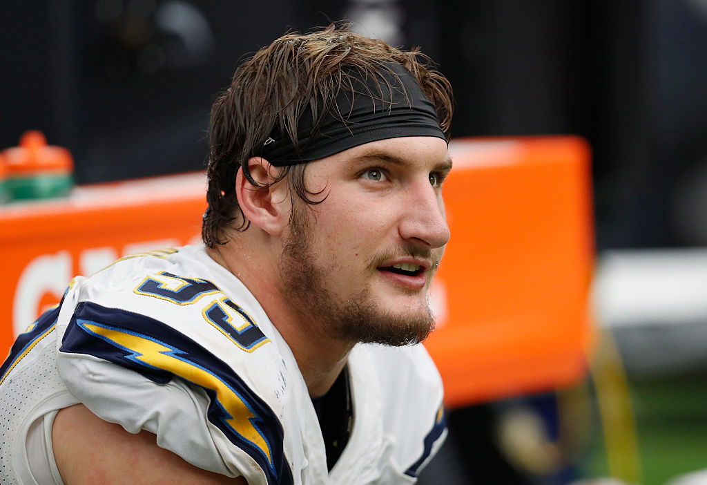 Joey Bosa of the San Diego Chargers takes a breather on the bench.