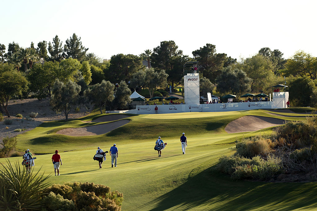 Golfers compete in the Shriners Hospitals for Children Open at TPC Summerlin in Las Vegas.