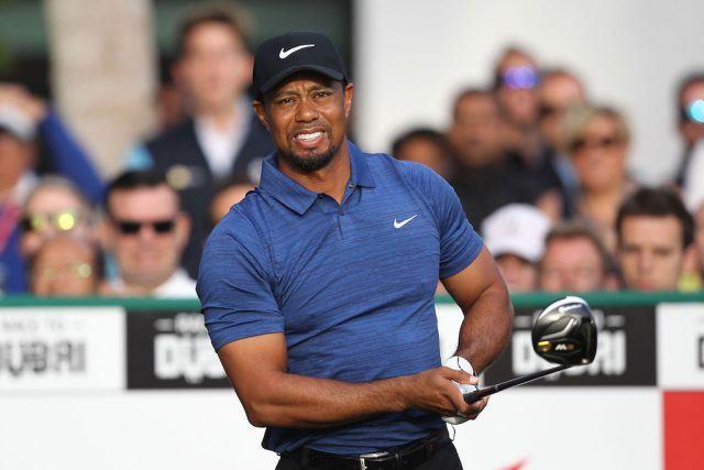 Tiger Woods plays a shot.