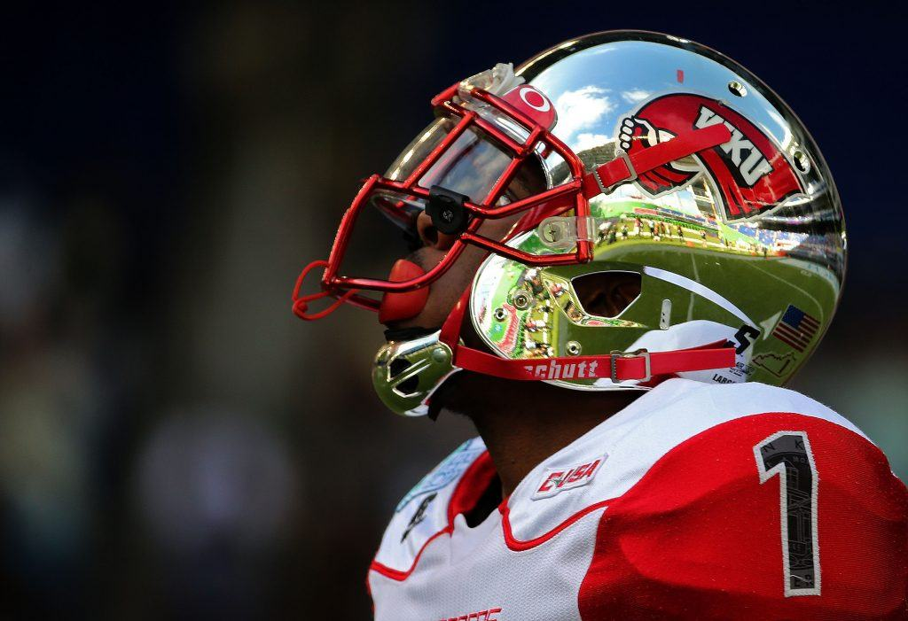 Nacarius Fant of the Western Kentucky Hilltoppers looks on during the 2015 Miami Beach Bowl.