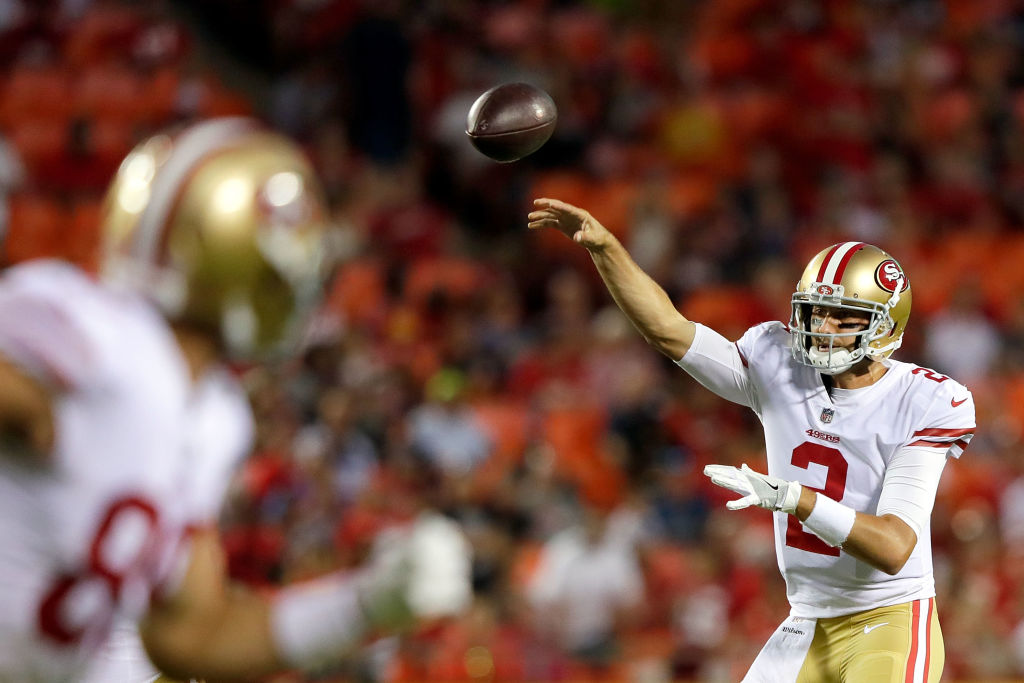 Quarterback Brian Hoyer of the San Francisco 49ers passes during a preseason game against the Kansas City Chiefs.