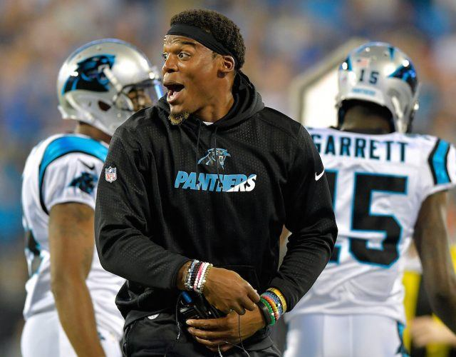 Cam Newton smiles during the preseason.