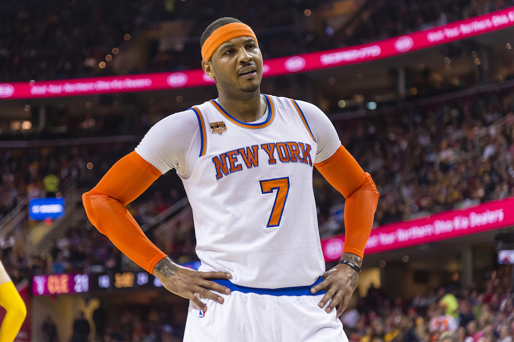 Carmelo Anthony is frustrated during a game against the Cavs.