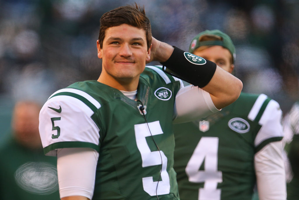 Christian Hackenberg #5 of the New York Jets watches from the sidelines during the second half of their game against the Buffalo Bills at MetLife Stadium on January 1, 2017 in East Rutherford, New Jersey. (Photo by Ed Mulholland/Getty Images)