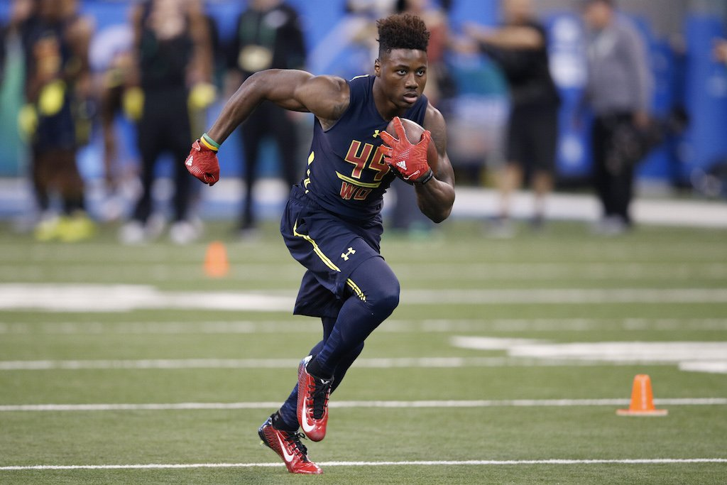 Curtis Samuel catches a pass during the NFL Combine.