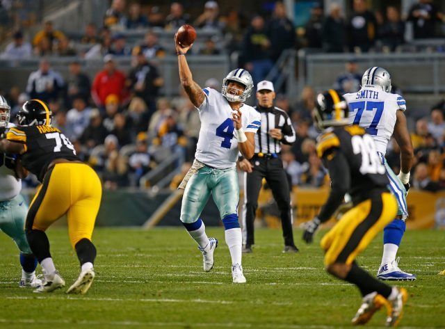 Dak Prescott throws a pass against the Steelers.