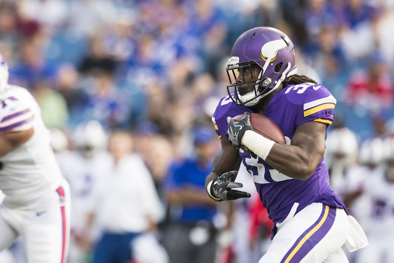 Dalvin Cook #33 of the Minnesota Vikings carries the ball during the first quarter.