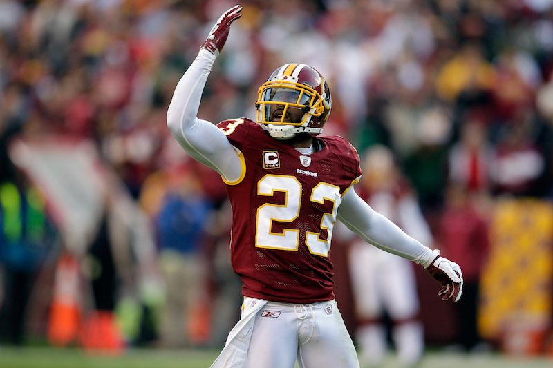 DeAngelo Hall #23 of the Washington Redskins motions to the crowd.