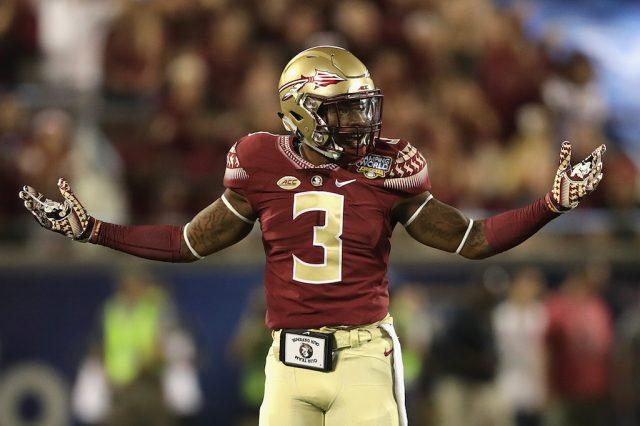 Derwin James reacts to a play against Ole Miss.
