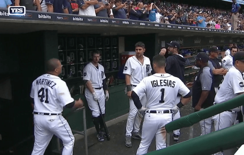 Shot of Tigers dugout during an argument