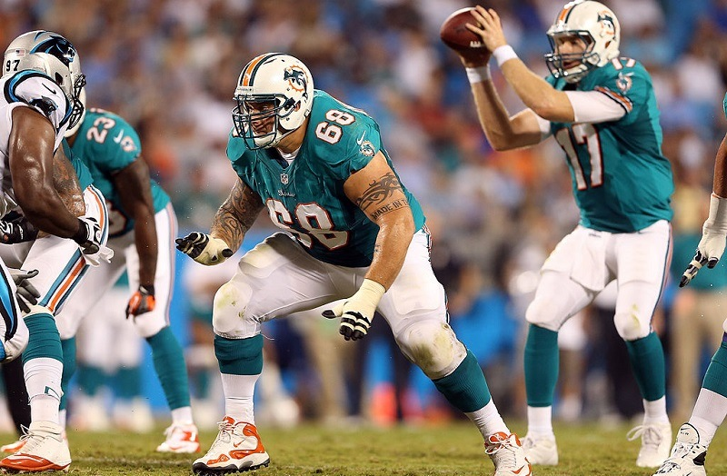 CHARLOTTE, NC - AUGUST 17: Richie Incognito #68 of the Miami Dolphins during their preseason game at Bank of America Stadium on August 17, 2012 in Charlotte, North Carolina.