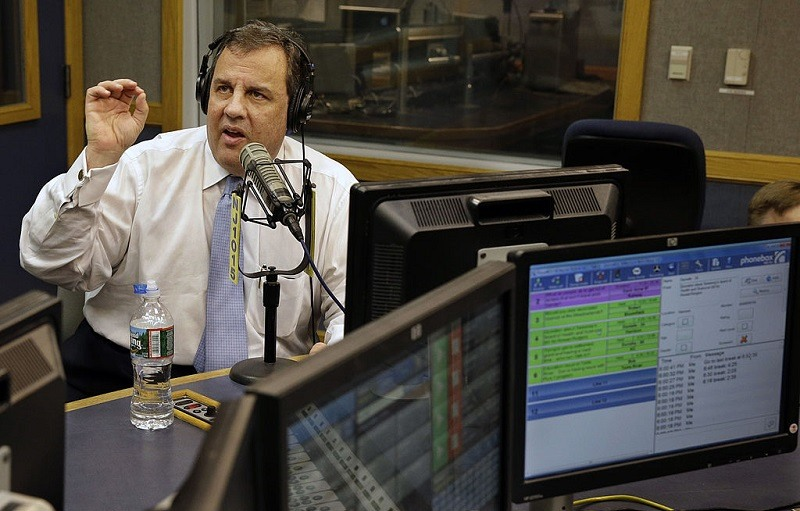 "New Jersey Governor Chris Christie answers questions during his radio program ""Ask the Governor"" in 2014."